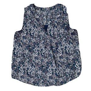 LOFT Teal Floral Sleeveless Swing Tank Blouse Top